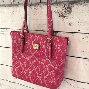 NEW Anne Klein perfect tote pink snakeskin print